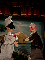 Antique hand puppets on stage 2