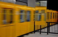 yellow metro in the mirror. 1