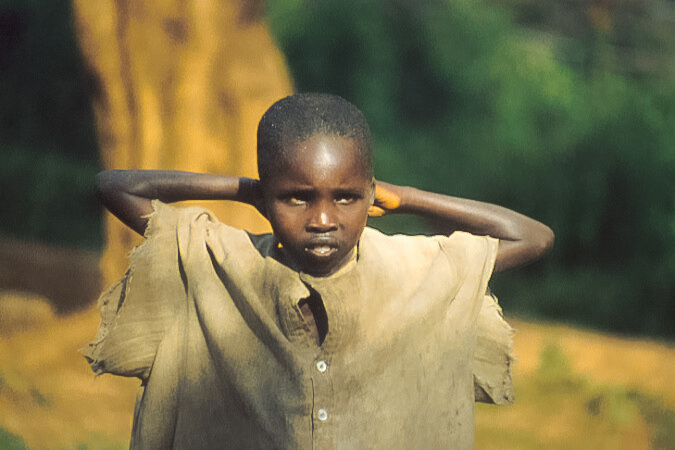 Kenyan girl w raised arms 3